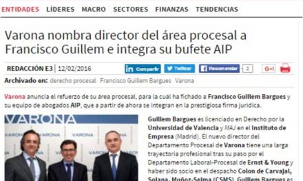 El fichaje de FRANCISCO GUILLEM para el área procesal VARONA es noticia en ECONOMÍA3